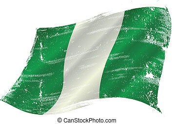 waving nigerian grunge flag - flag of Nigeria in the wind...