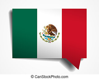 Mexico flag paper 3d realistic speech bubble on white...