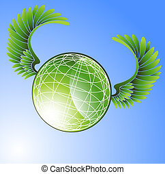 Flying World - Green planet with spinning windmill icons in...