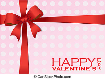 Valentines Gift with Red Ribbon Vector Illustration