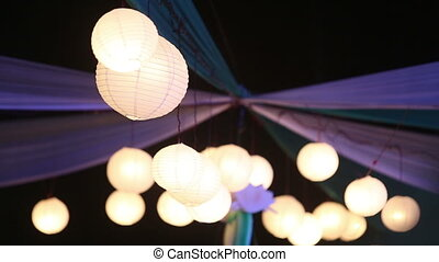 Chinese luminous balls - in the air at a wedding Chinese...