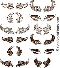Wing Set - Line art angel wing flight symbols in a wide...