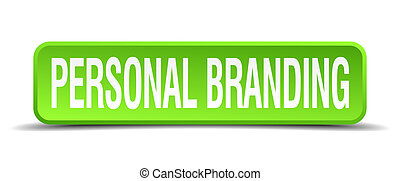 personal branding green 3d realistic square isolated button