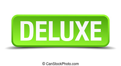 Deluxe green 3d realistic square isolated button
