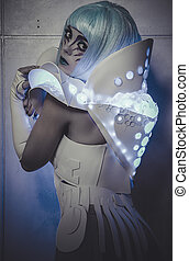 future woman dressed in suit white and blue lights