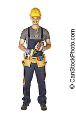 handyman with toolbelt - caucasian young handyman with...