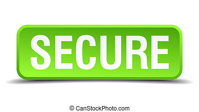 Secure green 3d realistic square isolated button