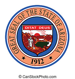 State Seal of Arizona - The state seal of Arizona on a white...