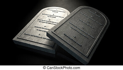 The Ten Commandments - Two representative stone tablets with...