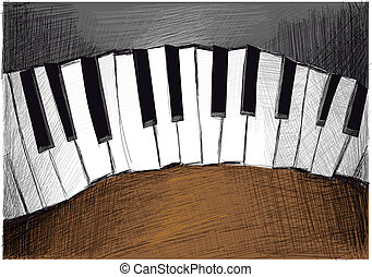 Sketchy Piano - This Vector Image was digital painted on...