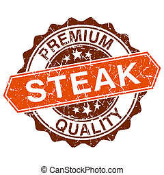 Steak grungy stamp isolated on white background