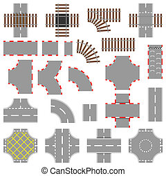 Road And Rail Elements - Road, rail and race track vector...