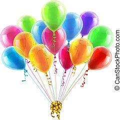 aniversário, ou, Partido, balões, arco