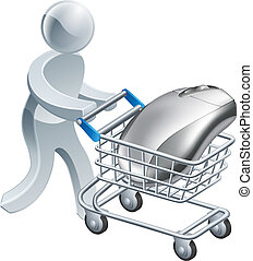 Man pushing computer mouse in trolley - A person pushing a...