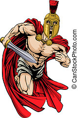 Spartan or trojan man - An illustration of a warrior...