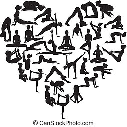 Yoga heart - A heart shape made from silhouettes in yoga or...