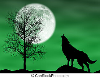Howling wolf in a dark and cloudy night with moon
