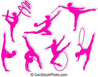 Rhythmic gymnastics exercises - Young women in rhythmic...