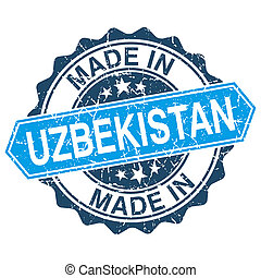 made in Uzbekistan vintage stamp isolated on white...
