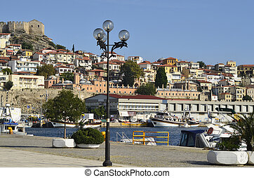 Greece, Kavala, harbour with Castle and Imaret