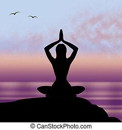 yoga, postura, medios, postura, armonía, y, tacto