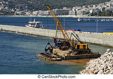 Greece, Kavala, dredging in the harbour