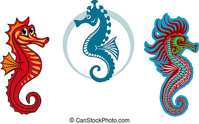 Funny underwater seahorse or hippocampus for sealife or...