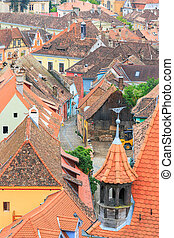 view of Sighisoara from the clock tower, Romania