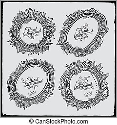Set of four floral decorative vector frames
