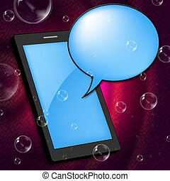 Mobile Phone Represents Communication Internet And Portable...