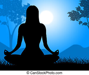 Yoga Pose Shows Relaxing Spirituality And Calm - Yoga Pose...