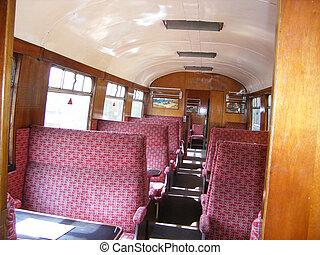 Old steam train interior