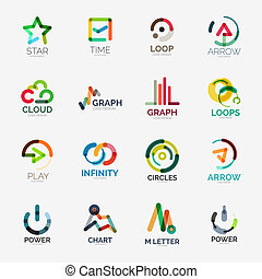 Abstract company logo vector collection - 16 line style...