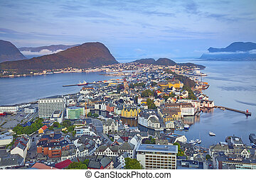 Alesund, Norway - Image of norwegian city of Alesund during...