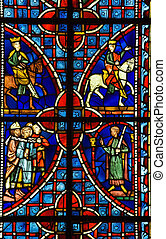 Stained glass window - Religious medieval stained glass...