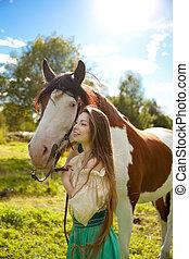 hermoso, mujer, caballo, campo, niña, granja