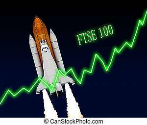 FTSE 100 Index Chart - FTSE 100 index chart up London stock...