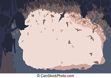 Cave life - Editable vector illustration of animals in a bat...