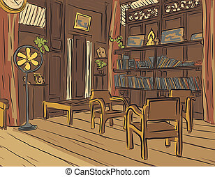 Reading room - Editable vector color sketch of an olden...
