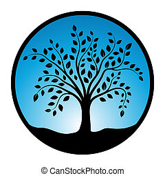 Tree symbol in circle on a white background, Vector...