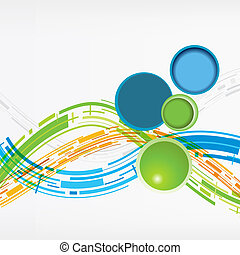 Abstract futuristic technology colorful 3D circle. Vector background