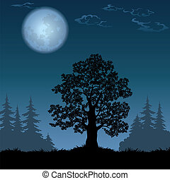 Landscape with oak tree and the moon - Oak tree, a black...