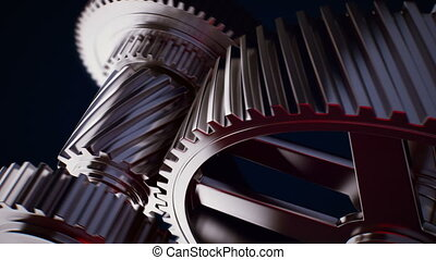 Animation of gears working together - Rotating gears...