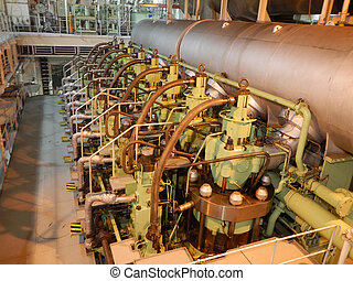 Engine room on the big ocean going - Main engine on the big...
