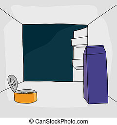 Open Fridge with Food - Cartoon open refrigerator with...