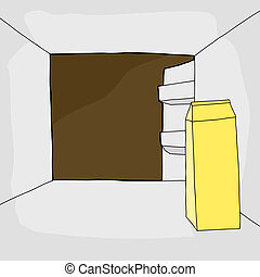 Refrigerator with Milk Carton - One open cartoon...