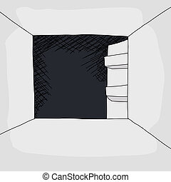 Empty Refrigerator - Cartoon of empty refrigerator with open...