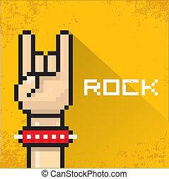 vector pixel art hand sign rock n roll music. - vector flat...