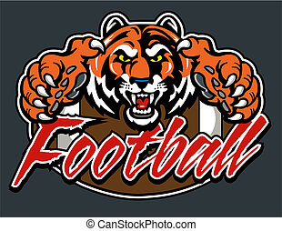 tiger football design with mascot