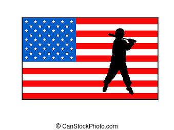 American flag and baseball player - Silhouette of baseball...